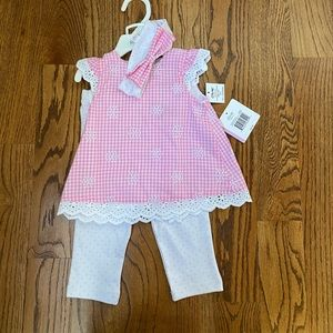Little me 2 piece outfit with headband Sz 9months